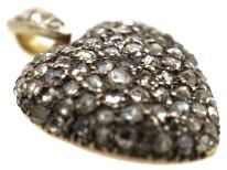 Edwardian 15ct Gold & Rose Diamond Heart Shaped Pendant