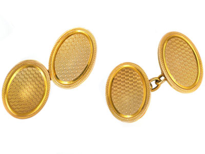 Art Deco 9ct Gold Engine Turned Cufflinks