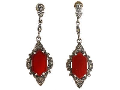 Art Deco Silver, Marcasite & Carnelian Drop Earrings