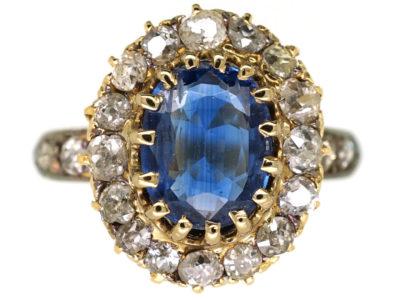 Edwardian 18ct Gold Oval Sapphire & Diamond Ring