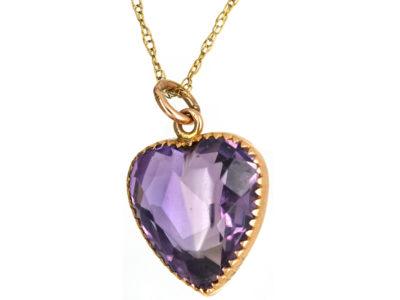 Edwardian Amethyst Heart Pendant on 9ct Gold Chain