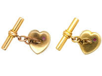 Edwardian 15ct Gold Heart Shaped Mother of Pearl & Ruby Cufflinks