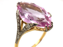 Edwardian 18ct Gold, Synthetic Pink Spinel & Rose Diamond Ring