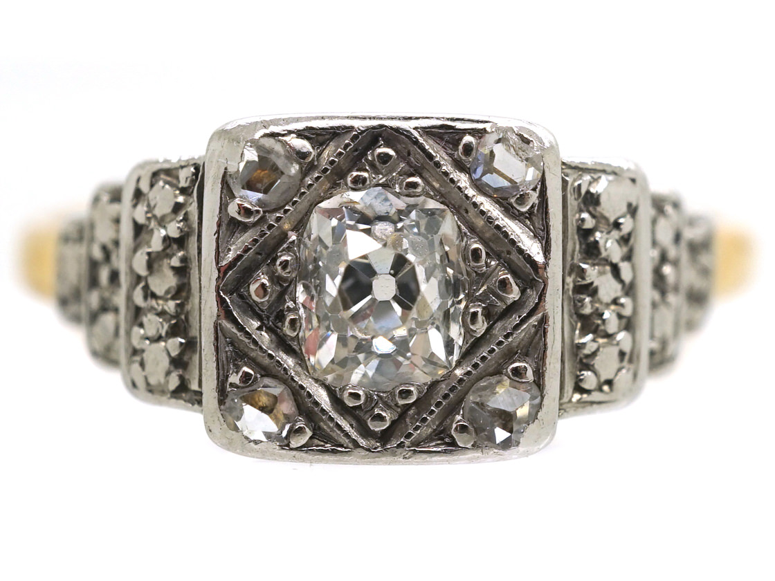 Art Deco 18ct Gold, Platinum & Diamond Solitaire Ring With Stepped Diamond Set Shoulders