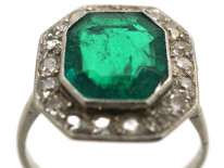 Art Deco 18ct White Gold & Platinum, Emerald & Diamond Ring