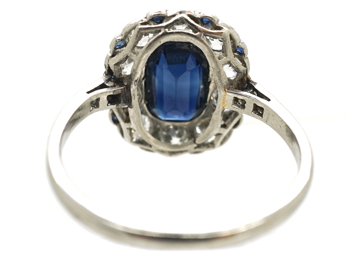 French Platinum, Sapphire & Diamond Oval Cluster Ring