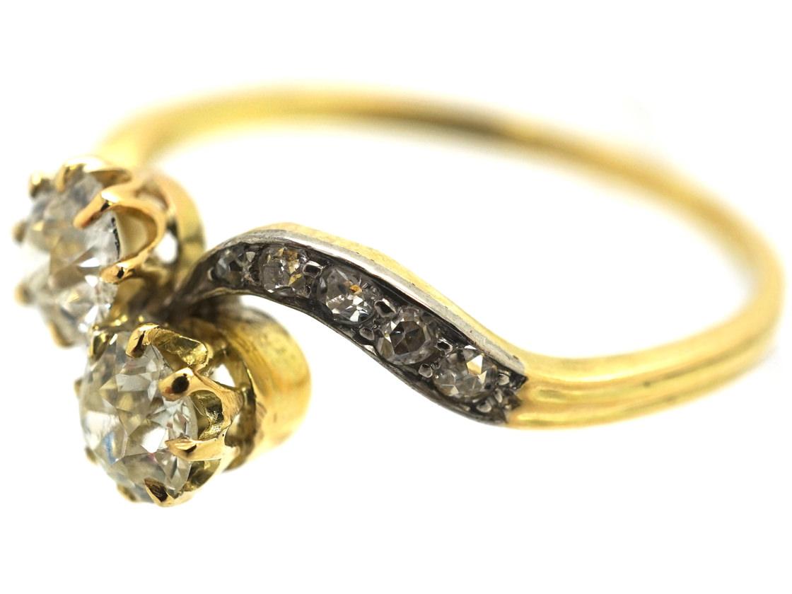 Edwardian 18ct Gold, Platinum & Diamond Two Stone Crossover Ring