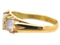 Edwardian 18ct Gold, Rose Diamond & Opal Three Stone Ring