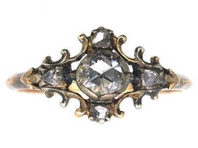 Georgian 18ct Gold & Silver Rose Diamond Ring