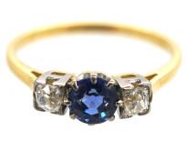 Art Deco 18ct Gold, Sapphire & Diamond Ring