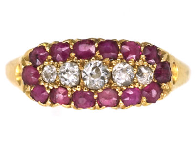 Victorian 18ct Gold, Ruby & Diamond Boat Shaped Ring