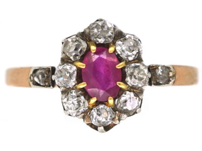 Ruby & Diamond Cluster Ring With Diamond Set Shoulders