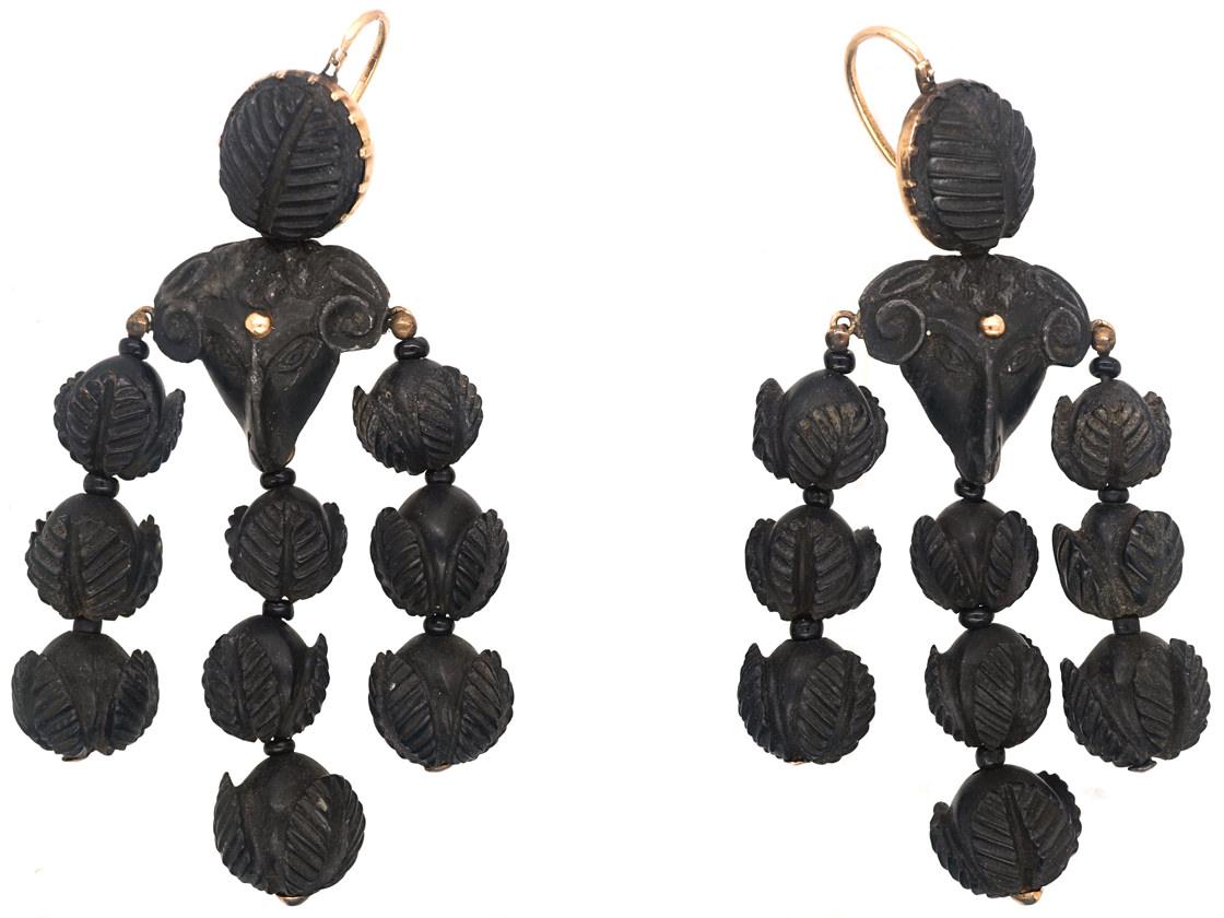 Early 19th Century Bog Oak Ram's Head Earrings