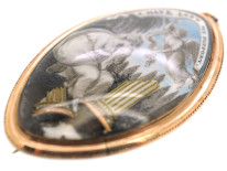 Georgian Gold Navette Shaped Mourning Brooch with Miniature of Lady & Angel