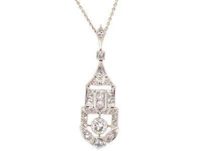 Art Deco 18ct White Gold & Diamond Pendant in Original Case