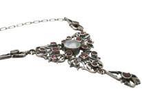 Edwardian Silver, Flat Cut Almandine Garnets & Blister Necklace
