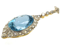 Art Deco 18ct Gold & Platinum, Aquamarine & Diamond Pendant