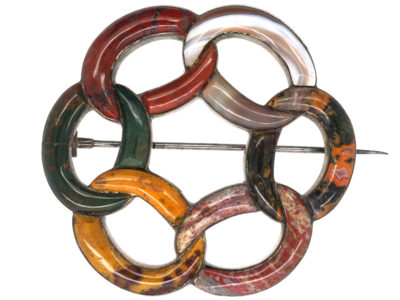 Victorian Scottish Silver & Agate Interlocking Rings Brooch