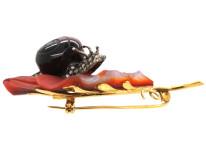 14ct Gold & Hard Stone Oak Leaf & Snail Brooch Set With Diamonds