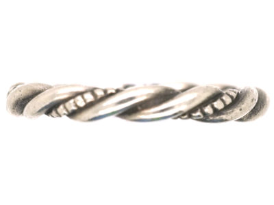 Silver Twist Ring Attributed to Georg Jensen