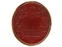 Georgian 15ct Gold Seal With Carnelian Intaglio of a Crest