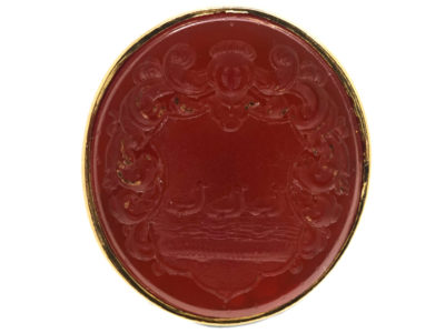 Georgian 15ct Gold Seal With Carnelian Intaglio of a Crest