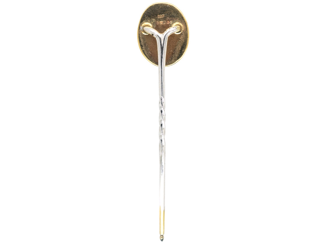 Reverse Intaglio Rock Crystal Tie Pin of a Polo Pony With Two Mallets