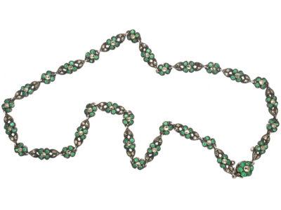 Edwardian Silver, Green Paste & Marcasite Flower Necklace