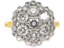 18ct White & Yellow Gold Large Diamond Cluster Ring