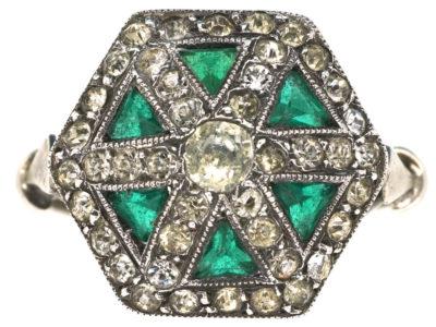 Art Deco Silver, Green & White Paste Ring
