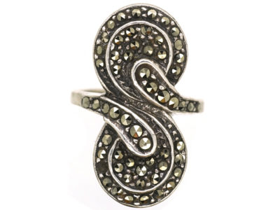 Art Deco Silver & Marcasite Double Swirl Ring