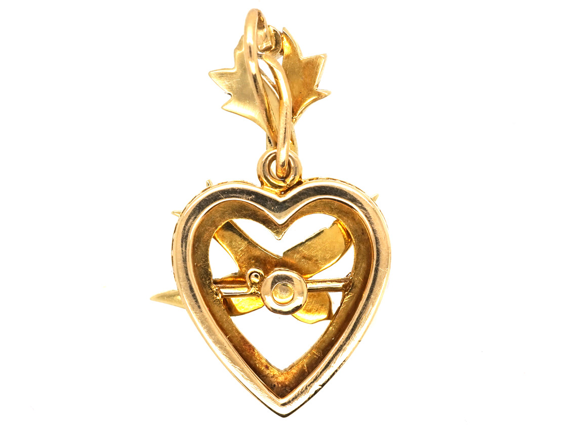 Edwardian 15ct Gold Heart & Swallow Pendant Set With Natural Split Pearls