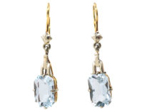 Art Deco 14ct White & Yellow Gold Drop Earrings Set With Aquamarines
