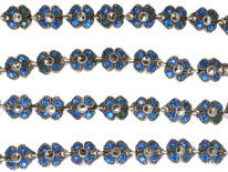 Silver, Paste & Marcasite Flowers Necklace