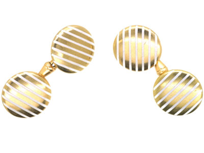 Art Deco 18ct Gold & White Enamel Stripe Cufflinks