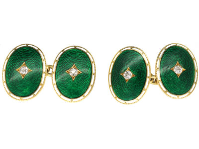 Edwardian 18ct Gold, Green & White Enamel Oval Cufflinks Set With Diamonds