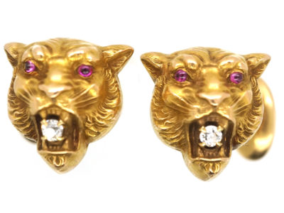 Art Nouveau 14ct Gold Cufflinks of Jaguars