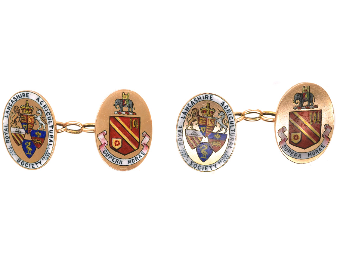 15ct Gold & Enamel Royal Lancashire Agricultural Society Cufflinks