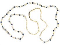 Edwardian Sapphire & Natural Pearl Necklace