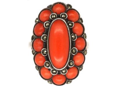 Art Deco Silver, Coral & Marcasite Ring
