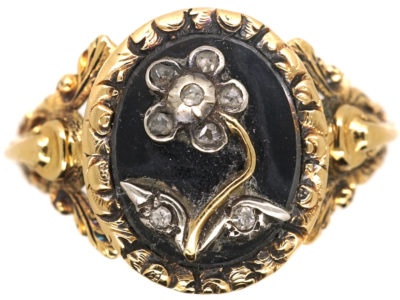 18ct Gold, Black Enamel & Rose Diamond Pense à Moi Mourning Ring
