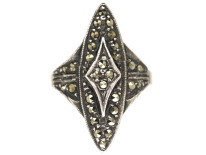 Art Deco Silver & Marcasite Marquise Shape Ring