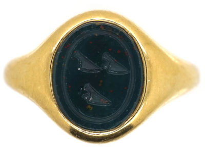 18ct Gold & Bloodstone Intaglio Signet Ring