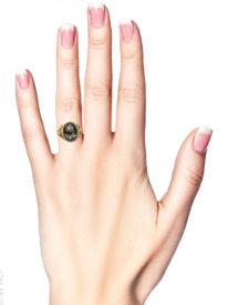 18ct Gold, Black Enamel & Rose Diamond Pense à Moi Mourning Ring