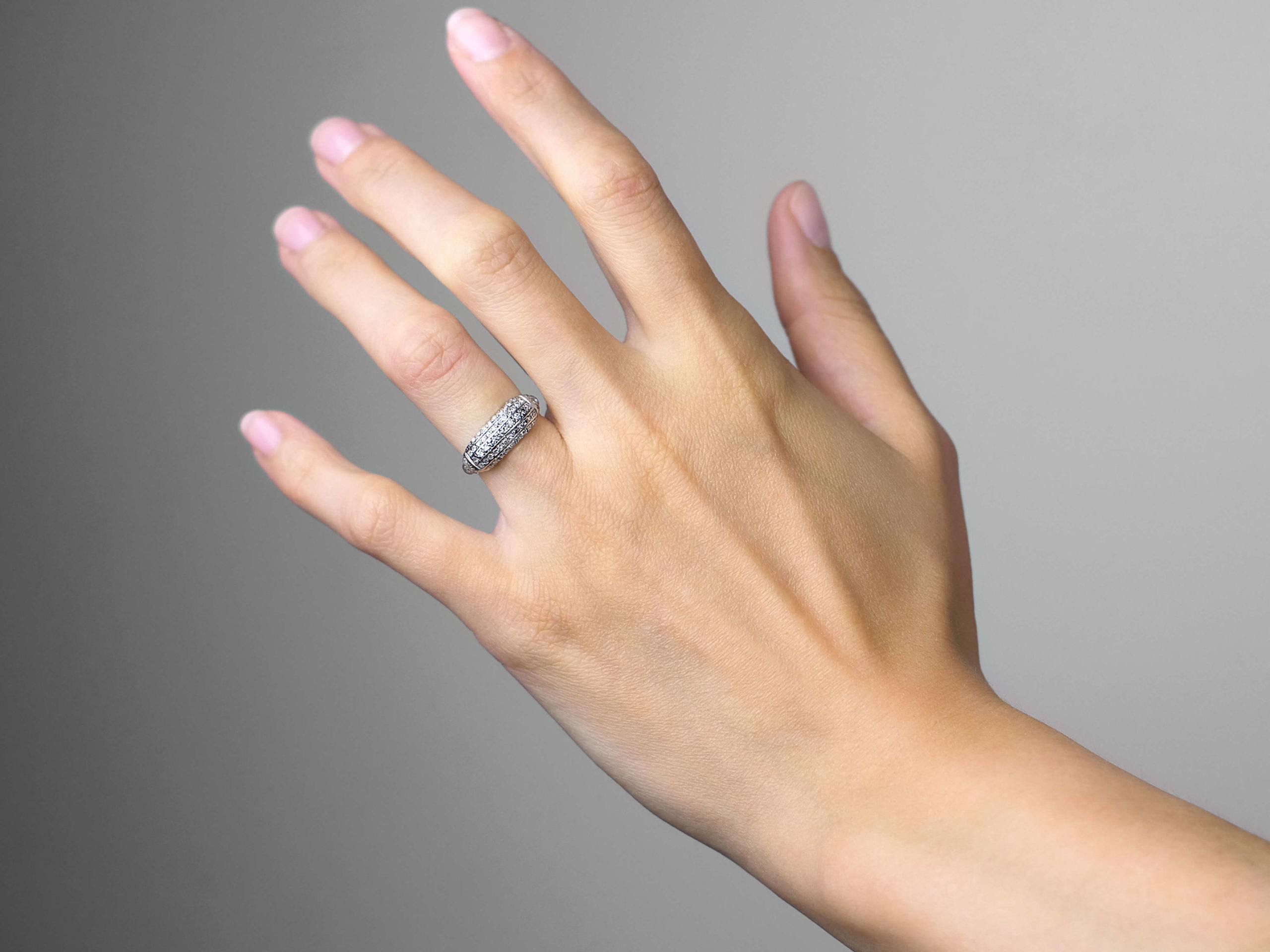 Edwardian Platinum & Diamond Set Five Line Ring