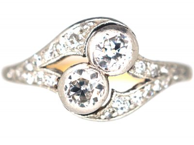 Edwardian 14ct Gold & Platinum, Two Stone Diamond Crossover Ring With Diamond Set Split Shoulders