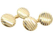 Art Deco 18ct Gold & White Enamel Stripe Cufflinks