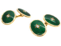 Edwardian 18ct Gold, Green & White Enamel Oval Cufflinks Set With Diamonds