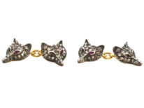 Rose Diamond & Ruby Foxes Heads Cufflinks