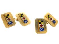 Edwardian 18ct Gold Signal Code Naval Flag Cufflinks